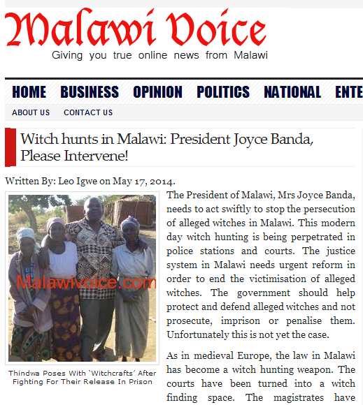 Witch hunts in Malawi by Leo Igwe 17 May 2014