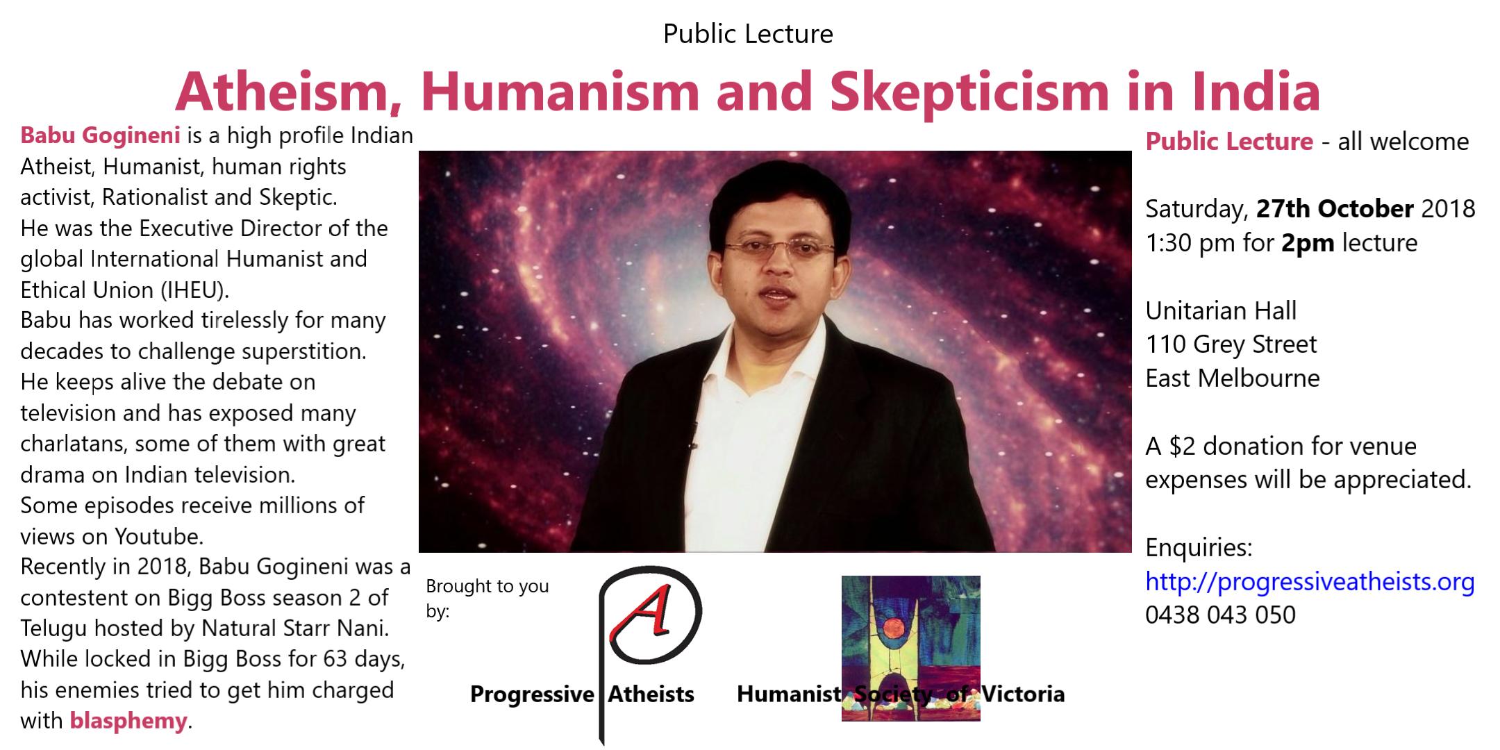 Atheism in India speaker Babu Gogineni 2